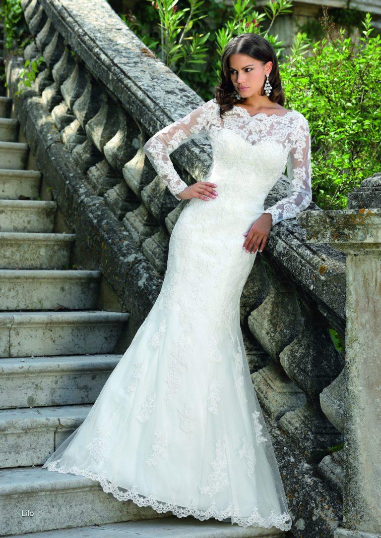 Brautkleider schmal mit Spitze, Hochzeitskleid Amberg