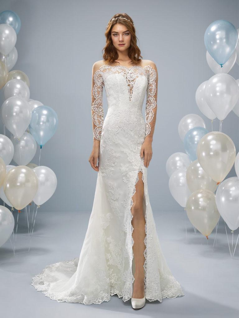Hochzeitskleid Amberg schmal mit Schlitz